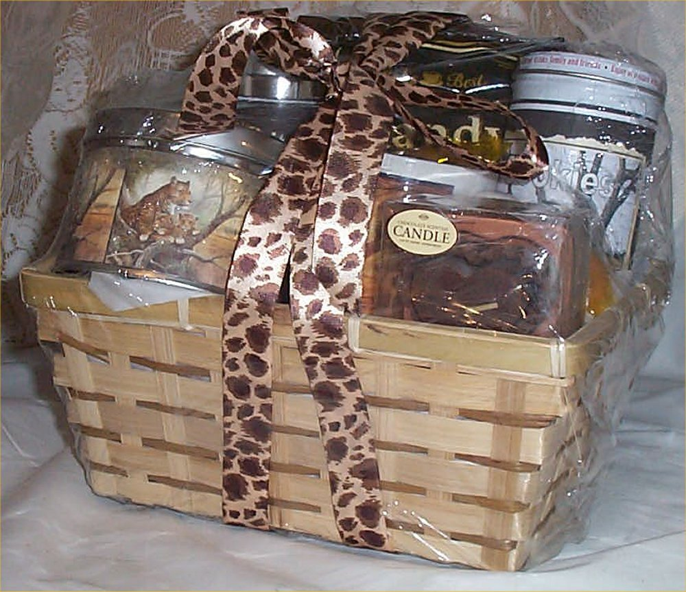 Amazon.com : Leopard Gift Basket COFFEE TEA Cookies Mug Towel Coaster Candy Candle Safari : Everything Else