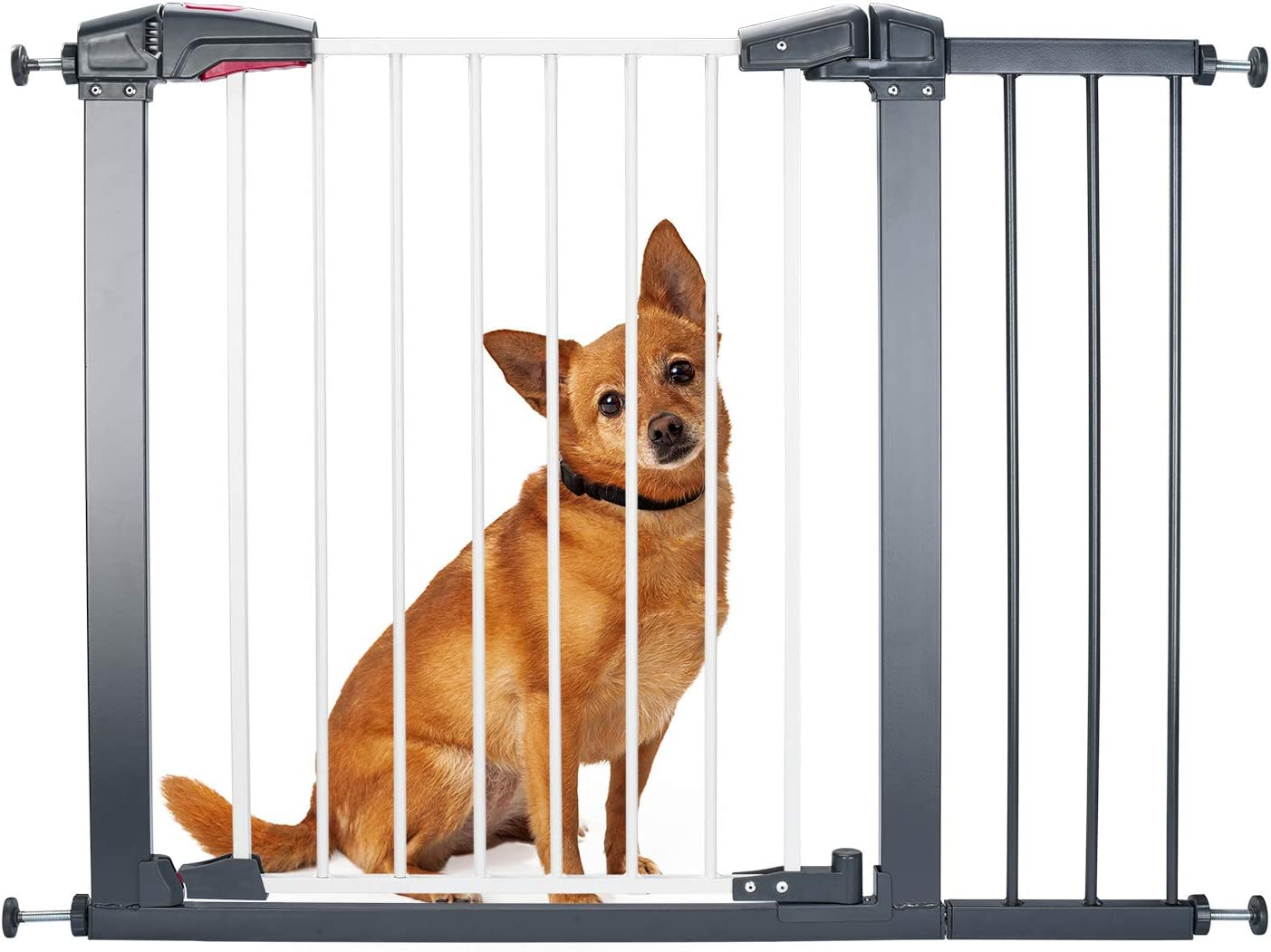"""Delxo Sturdy Safe Baby Gate with 4 Pressured Adjustment Bolts for Stairs/Doorways, 29"""" to 34"""" Wide 32'' Height, Single-Hand Easy Walk-Through No Tools Required Install for Baby/Dogs/Cats"""