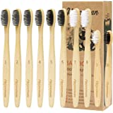 Bamboo Toothbrush 10 Pack Family Member Set - Adult + Child Natural Bamboo Toothbrush Set,Biodegradable Reusable Eco-Friendly Wood Toothbrush,Soft BPA Free Charcoal Bristles.