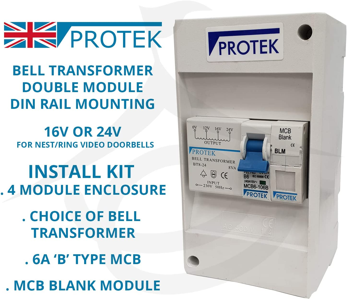 PROTEK Bell Transformer 16V 24V for Video Door Bell Enclosure Wall Mounted 2 Module BT8-24 24V Transformer
