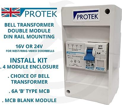Protek Bell Transformer 16v 24v For Video Door Bell Enclosure Wall Mounted Installation Kit 4 Module 6a Mcb Blank Bt8 16 16v Transformer Amazon Co Uk Diy Tools