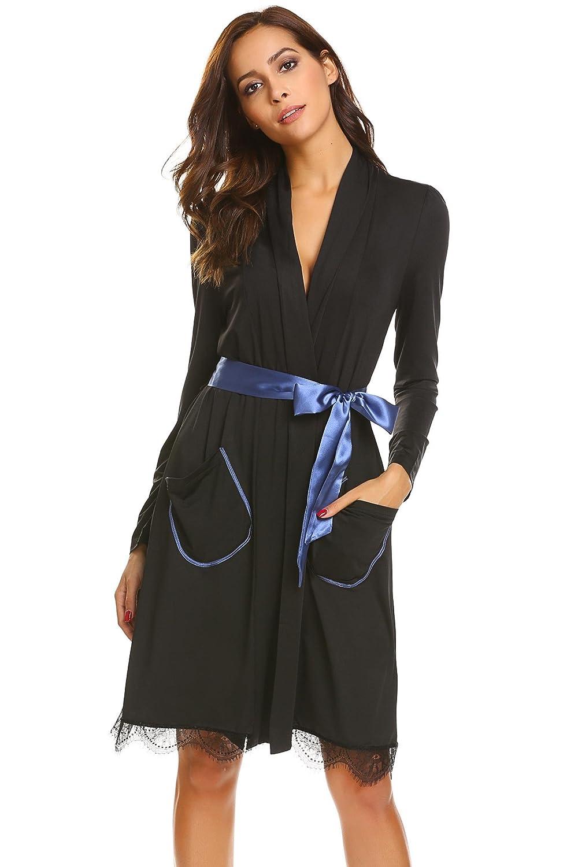 f9460a4612 Adome Women Lightweight Kimono Robe Long Sleeve Thin Dressing Gown  Nightwear S-XL  Amazon.co.uk  Clothing