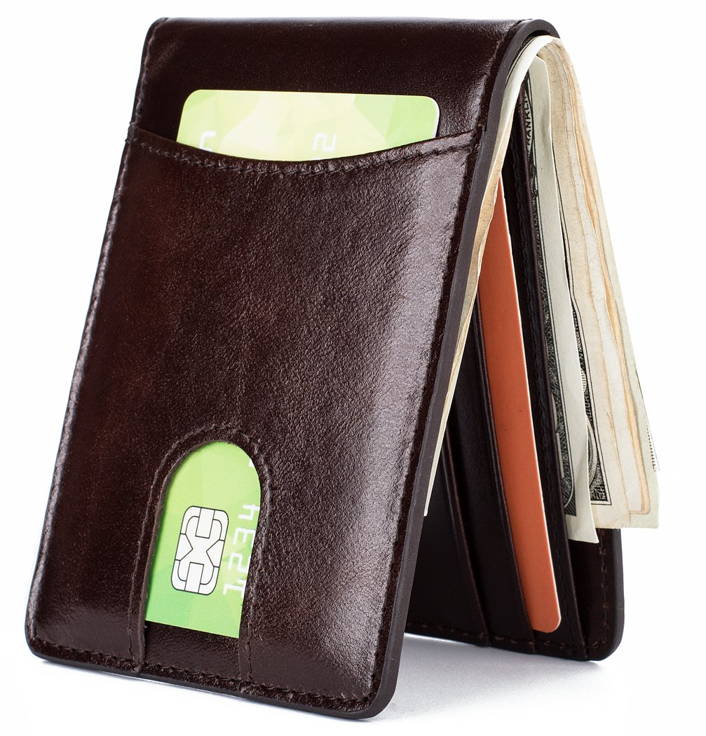 Mens Leather Wallet Slim Front Pocket Wallet Billfold ID Window RFID Blocking - Coffee
