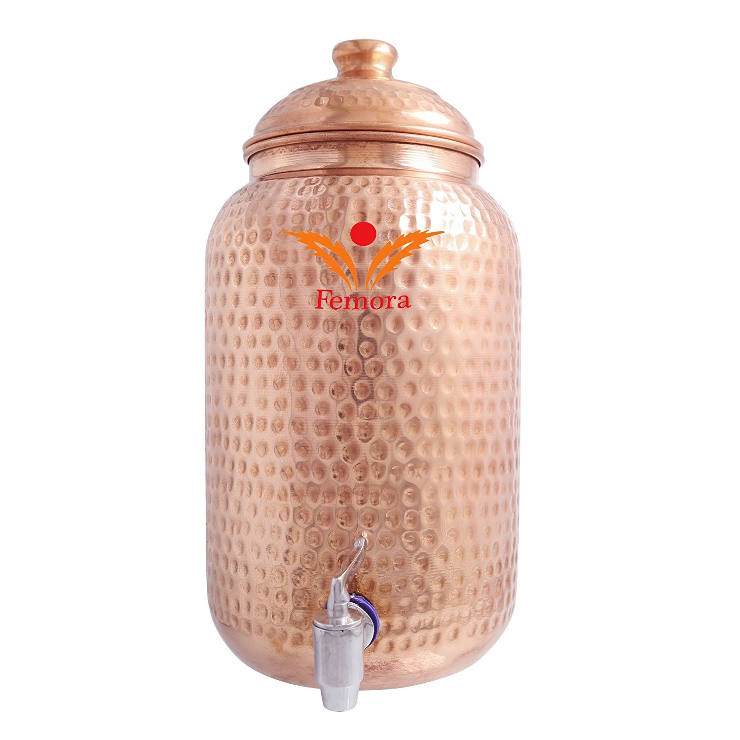 Femora Handmade Pure Solid Copper Water Pot Tank Matka for use Storage Drinking Water Restaurant Hotel Health Benefits for Indian Yoga Ayurveda (270.5Oz) Christmas Gift
