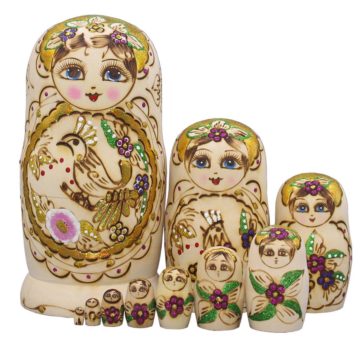 Moonmo 10pcs Beautiful Handmade Wooden Russia Nesting Dolls Gift Russian Nesting Wishing Dolls Red Flower Matryoshka Traditional.