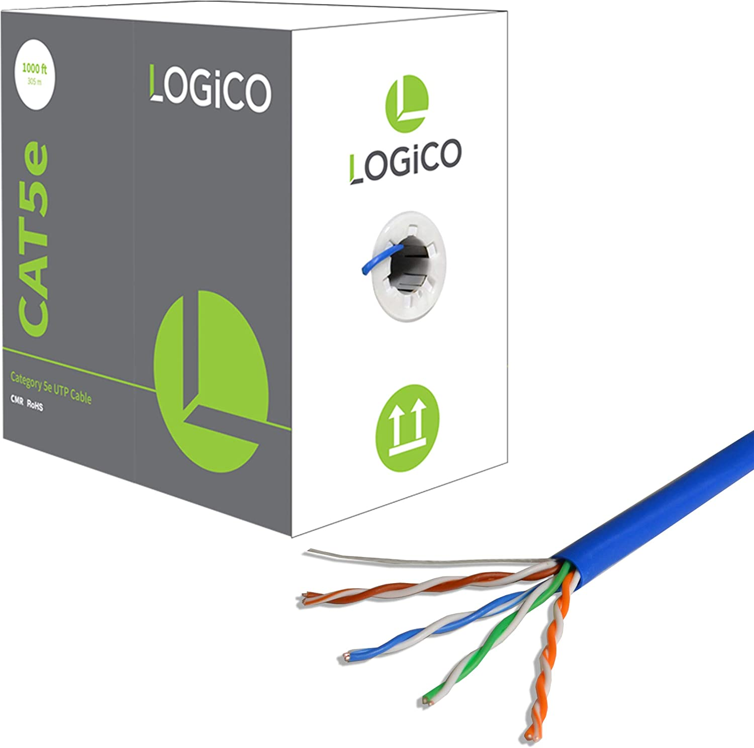 LOGICO CAT5e 1000FT UTP Cable Solid 24AWG Network Ethernet LAN Bulk Wire RJ45 Blue