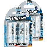 ANSMANN Piles Réchargeables D Mono (LR20/HR20) 8500mAh maxE ready2use NiMH Professional Pré-Chargé Power Accu - Pack de 4