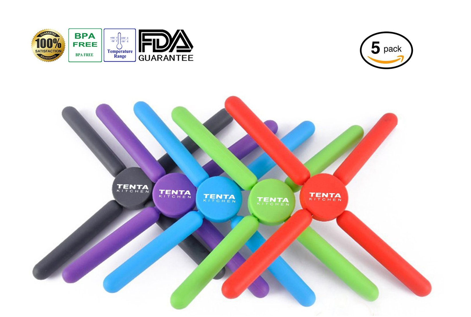 Tenta Kitchen Foldable Silicone Trivets-expandable/collapsible(pack of 5) by TENTA Kitchen
