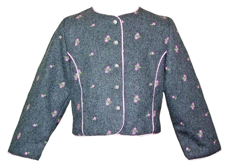 Hochwertige Trachtenjacke Mädchen Tailliert geschnitten, grau mit rosa Blumen - von Isar Trachten - Perfekt für Kirchweih und Sonntagsausflug