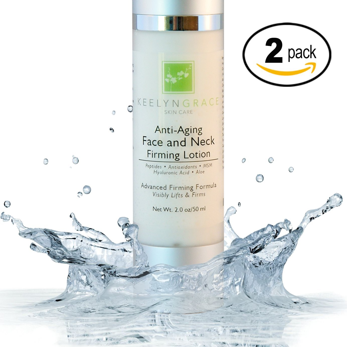 Face & Neck Firming Cream - 2-PACK Anti Aging Lotion Lifts & Firms | Tightens Sagging Skin | Reduces Wrinkles & Fine Lines | Brightening Advanced Treatment with Peptides & Hyaluronic Acid - 2 Oz.