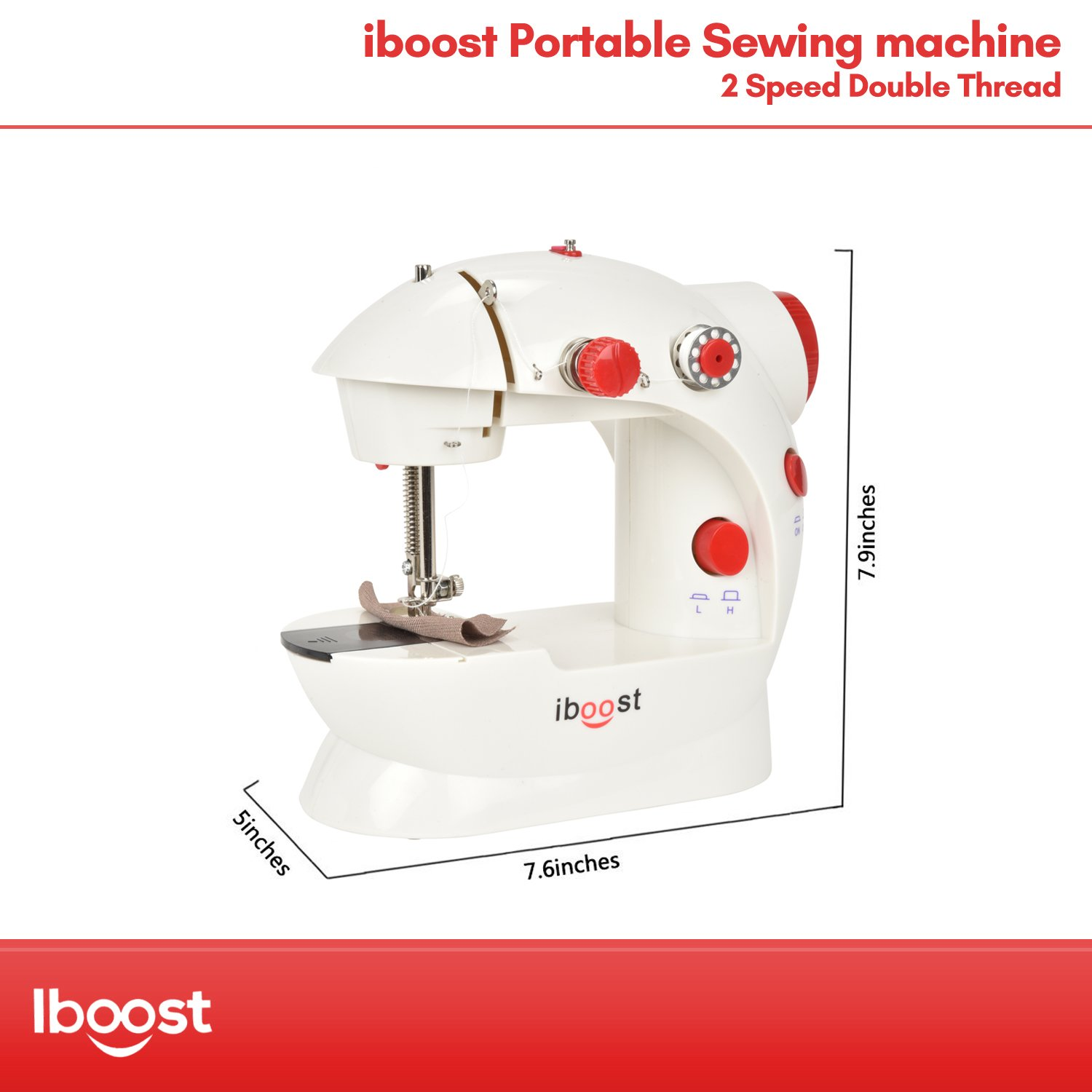 2-Speed and Foot Pedal Cutter iBoost Portable Sewing Machine Double-Thread