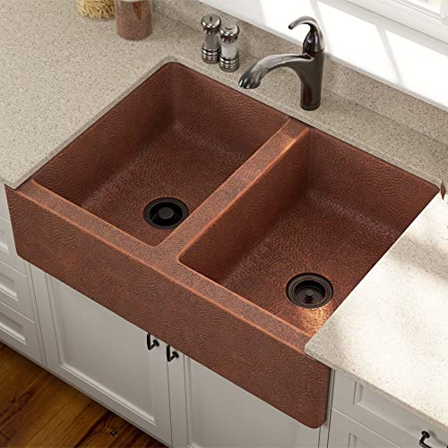 912 Equal Double Bowl Copper Apron Sink, Sink Only