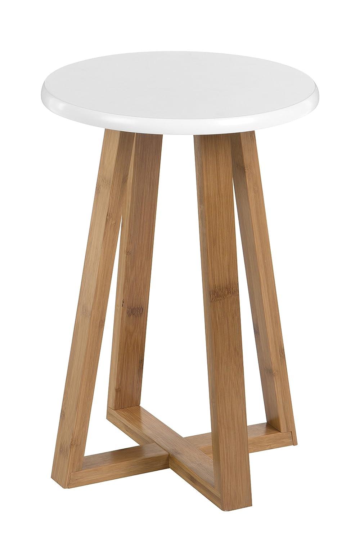 Premier Viborg Sgabello Rotondo Bianco bamb/ù 30x30x43 cm