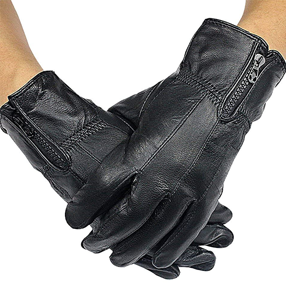 Celino Men Classy Real Leather Stitch Detail Black Zip Up Cold Weather Gloves