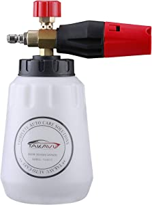 TAKAVU Foam Cannon, Upgraded 180° Adjustable Spray Nozzle, Heavy Duty Car Foam Blaster Wide Nick Bottle Snow Professional Foam Lance for Pressure Washer Gun with 1/4'' Quick Connector