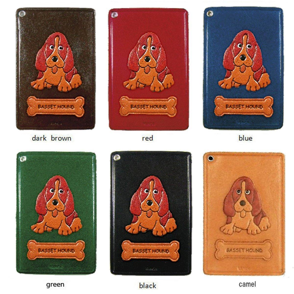 Basset Hound Leather Dog Pass/ID/Credit/Card Holder/CaseVANCA Handmade in Japan