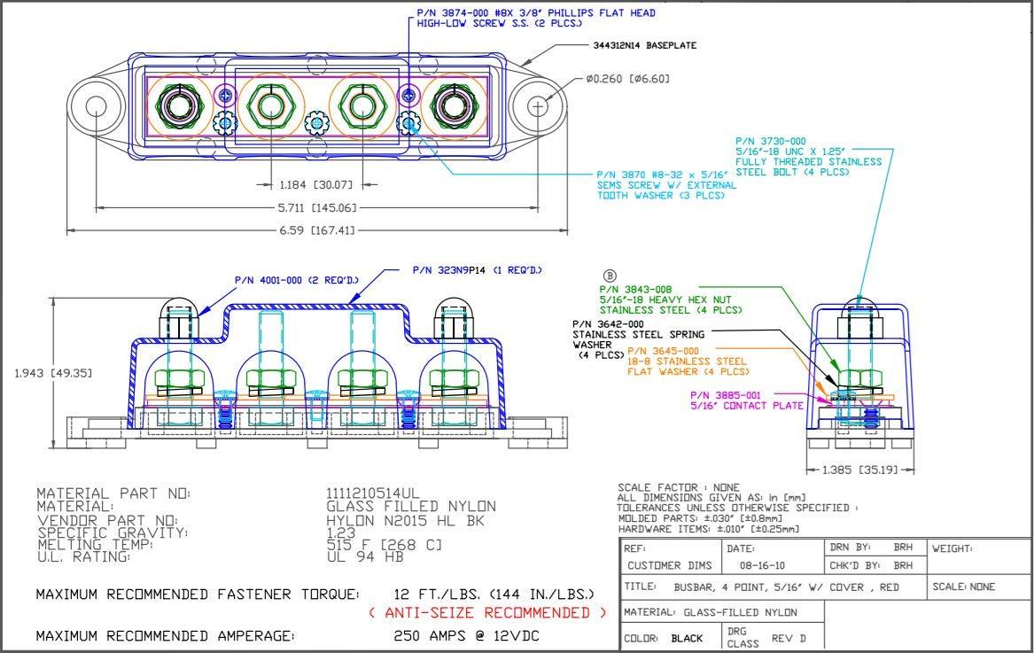 Bay Marine BusBar - 4-Post Power Distribution Block - 5/16