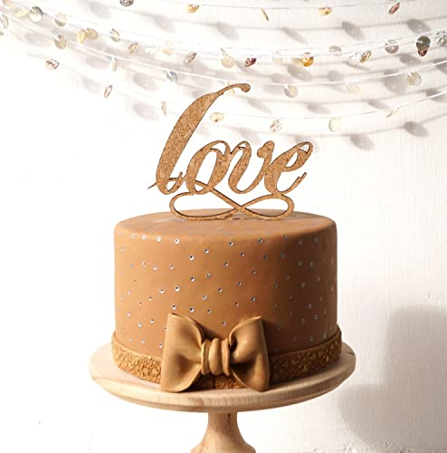 Wedding Cake Topper Rustic Wood And Cork Love Infinity