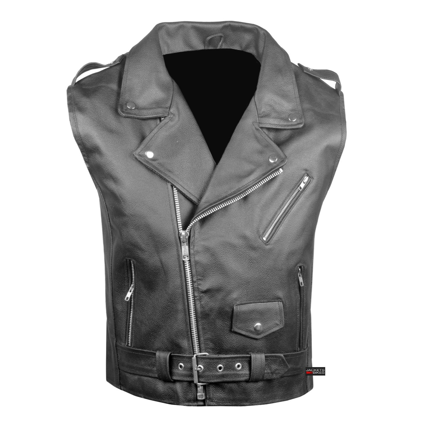 Men's Classic Leather Motorcycle Biker Concealed Carry Vintage Vest Black L by Jackets 4 Bikes