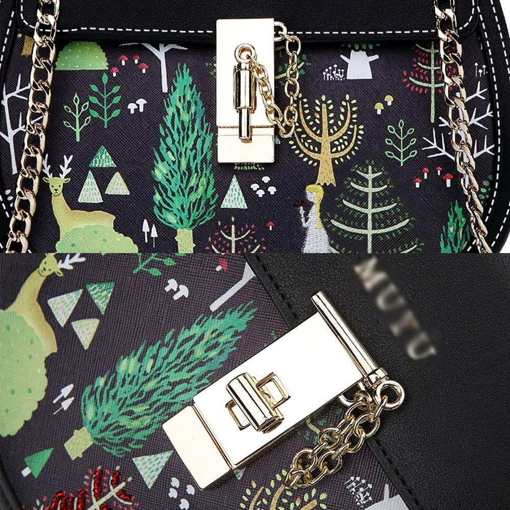 Fashion Casual Black Print Forest Shoulder Joker Girl Crossbody Chain Bag PU//Polyester Cotton 22X7X20cm ///& YD Shoulder Bag
