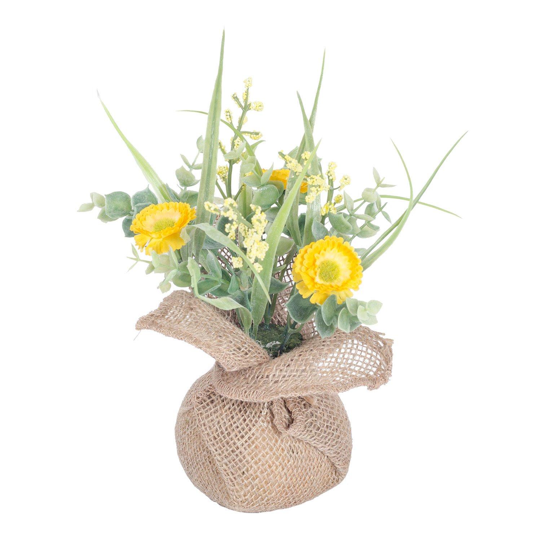 Homescapes Yellow Artificial Daisy Arrangement in Rustic Burlap Vase 20 cm Faux Decorative Flowers for Indoor Decoration