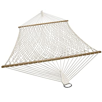Medium image of sunnydaze double wide 2 person cotton spreader bar rope hammock 2 person 450 pound