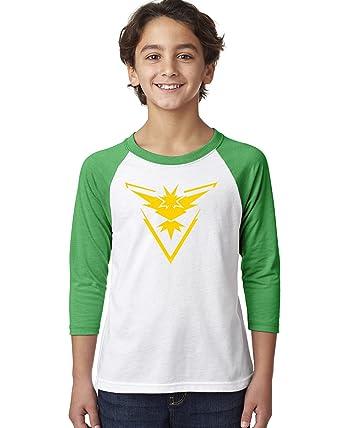 f49189fe Pokemon Go Gym Team Instinct Yellow Youth Raglan Tee T-Shirt Grey Black X  Small