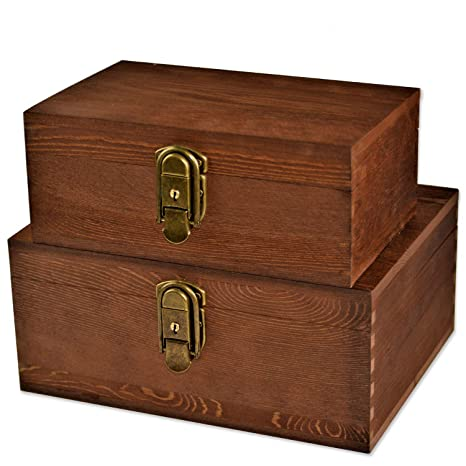 [Mustard 2 Sets] Wood Storage Box Kit Wooden Boxes Card Document Archival  Jewelry Trunks