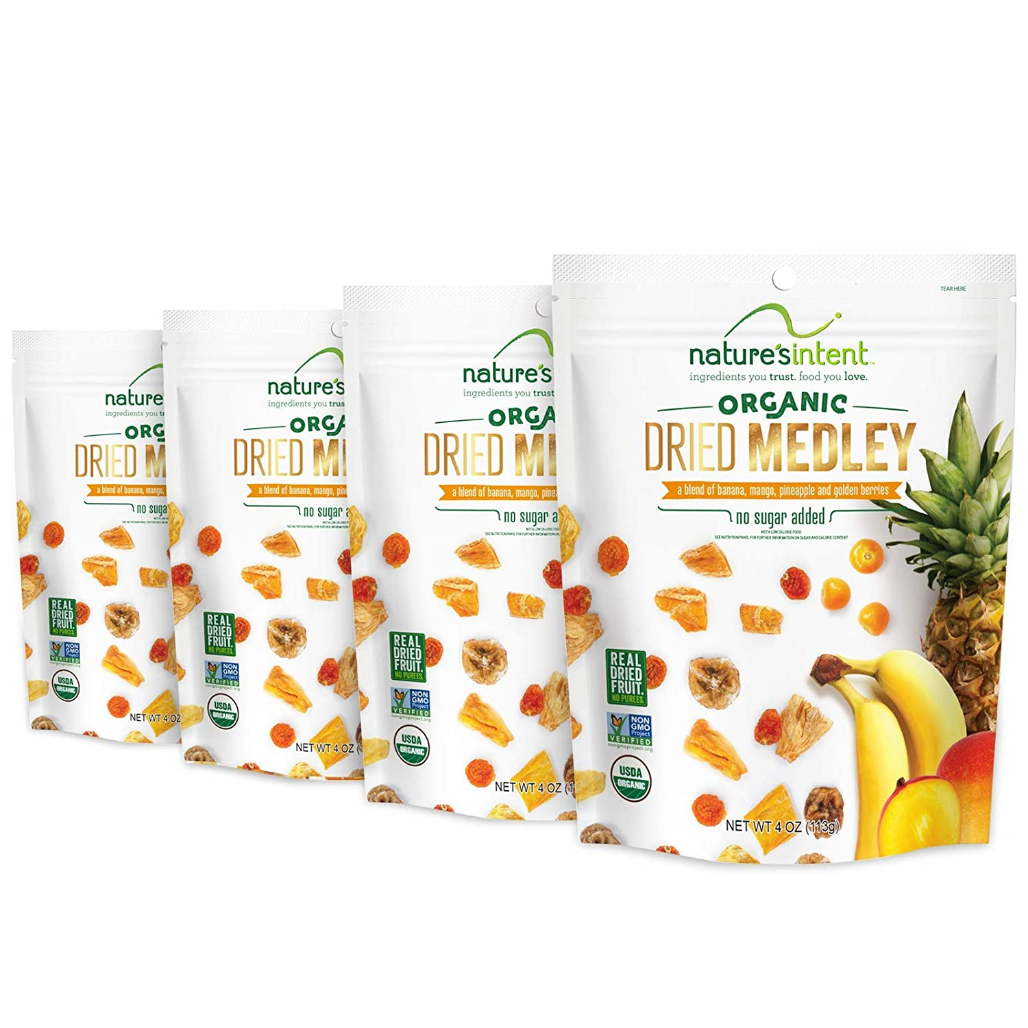 Nature's Intent Organic Dried Medley - 4 Pack x 3.5 Ounce - A Healthy Snack - Vegan, Vegetarian, USDA Organic, Non-GMO, and Gluten-Free with No Added Sugars, or Preservatives - Real Dried Fruit