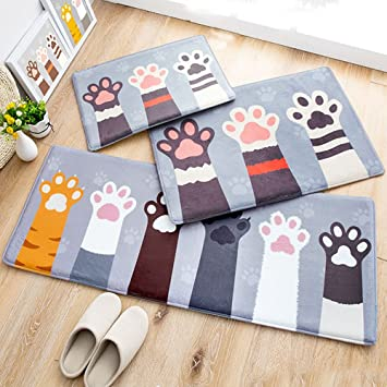 3 Piece Sets Cute Cats Paw Memory Foam Door Mats Bathroom Mats Non Slip