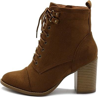 Ollio Women's Shoe Faux Suede Lace Up