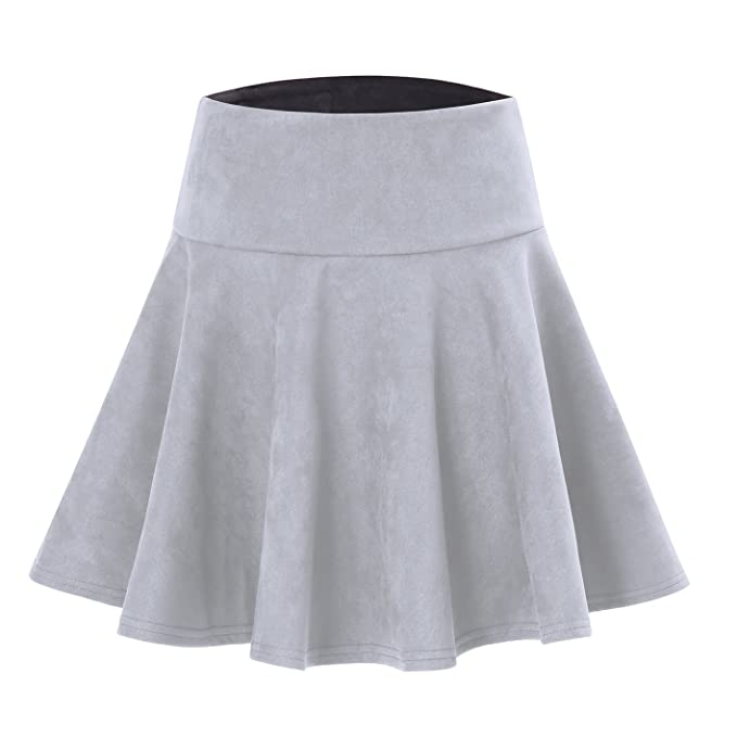 c1d83924ef Women's Faux Suede Flared Skater Short Skirt Grey L at Amazon ...