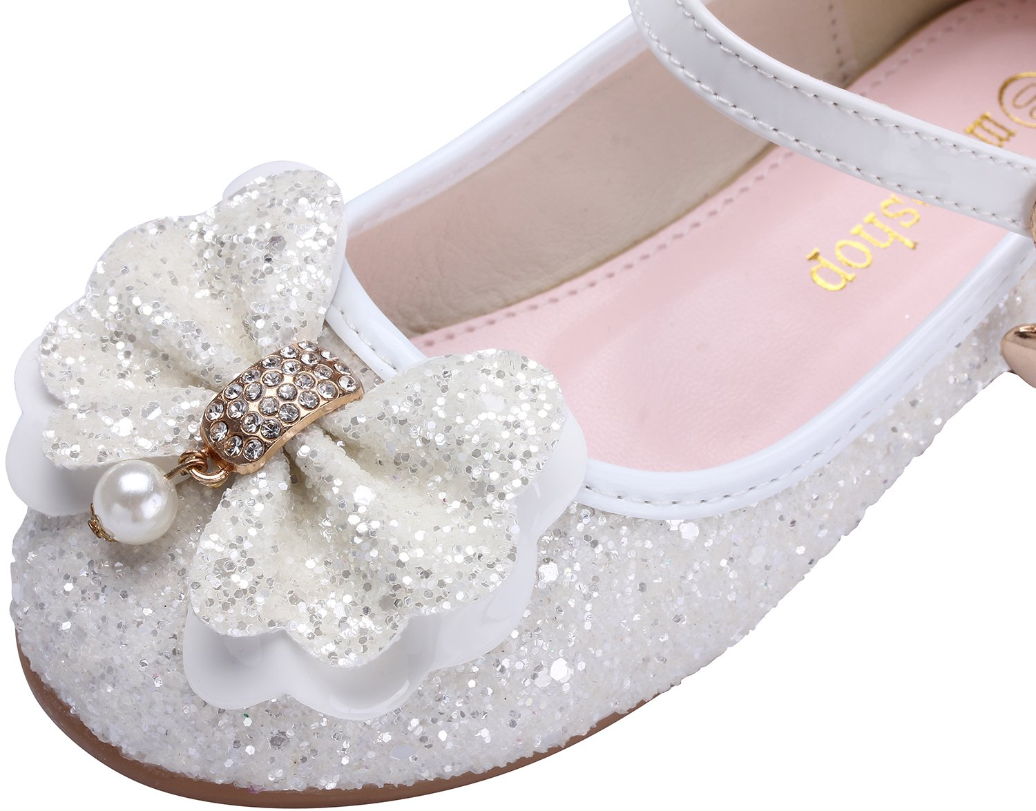 miaoshop Flower Girls Dress Ballet Flats Casual School Mary Jane Glitter Bow Shoes (10 M US Toddler, White) by miaoshop (Image #6)