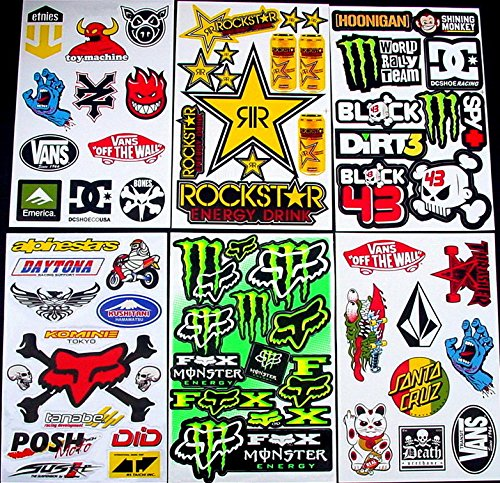 6 sheets motocross stickers CAr MX Energy Drink Graphic promotion Stiker Bike BMX Scooter Decal great BUMPER PACK gift bikeworld