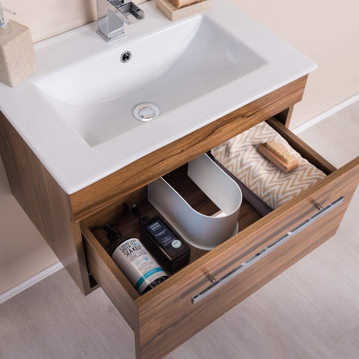 NRG Walnut 600mm Wall Hung Vanity Sink Unit Drawer Basin Bathroom Furniture