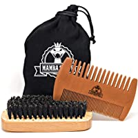 Mamba Shave Kit de Peine y Cepillo para Barba. Cepillo de Cerdas Naturales de Jabalí y Peine de Madera para peinar Cabello, Barba y Bigote. Beard Wooden Comb and Brush Kit.