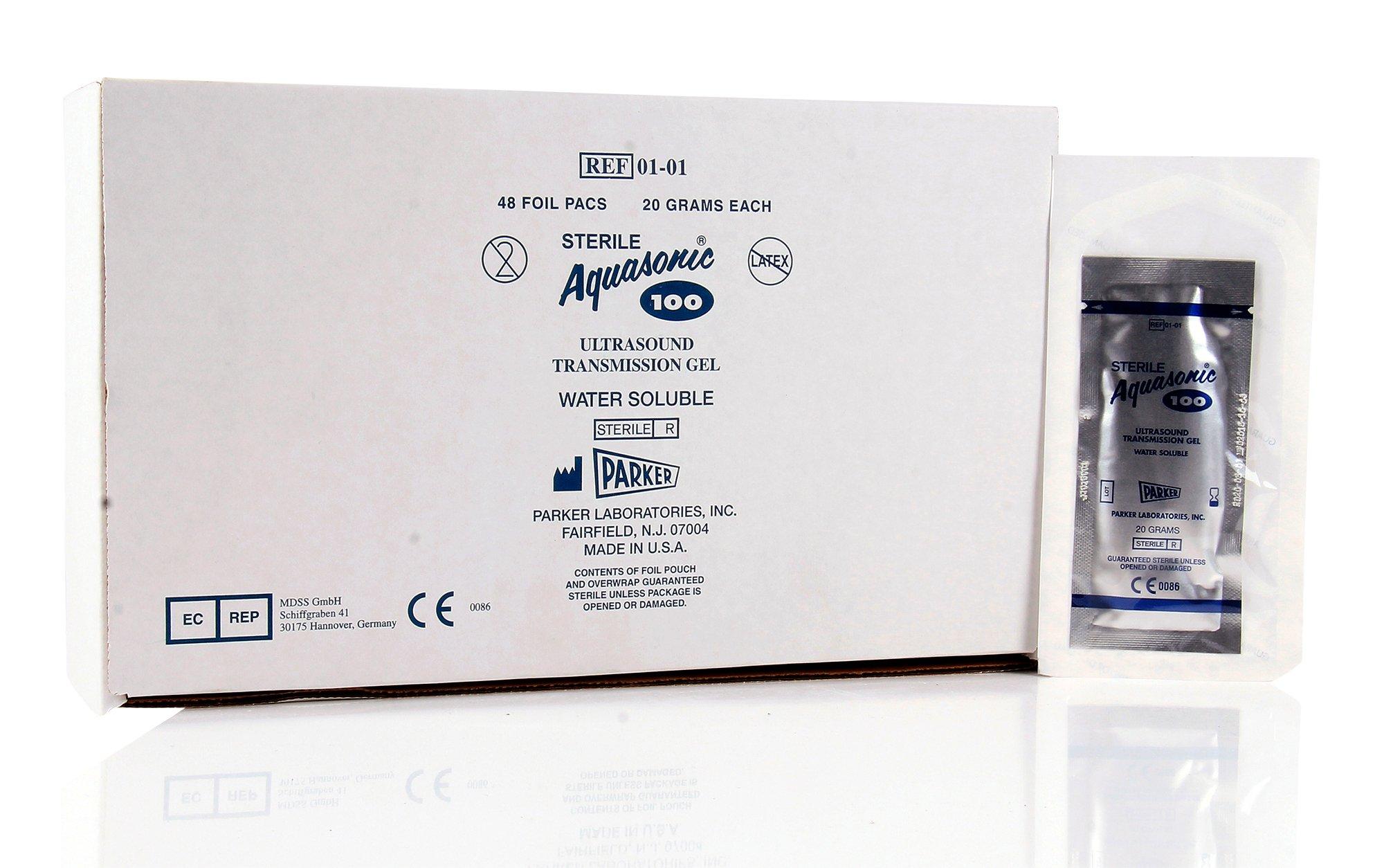 PT# -911409 Aquasonic 100 Gel 20gm Sterile Foil Pouch 48/Bx by, Parker Laboratories Inc