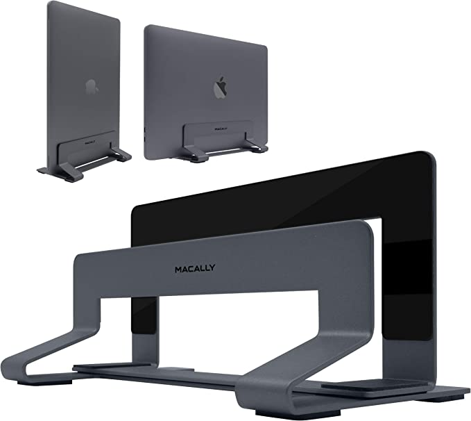 Amazon.com: Macally Vertical Laptop Stand for Desk - Adjustable Laptop Holder for Universal Compatibility - Saves Space & Improves Device Airflow - Use as MacBook Stand or Laptop Dock - Weighted Steel Frame: Computers & Accessories
