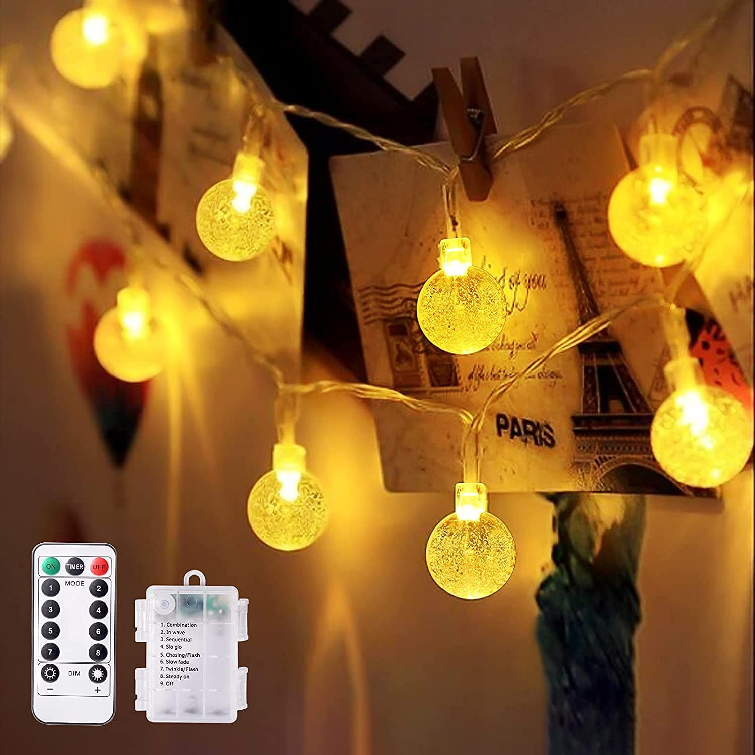 NEWYIHAN Fairy Lights Globe String Lights Battery Operated 16.4FT 50LED with Remote 8 Modes Waterproof Indoor Outdoor Decorative Lights for Christmas Party Birthday Patio Garden Wedding (Warm White)