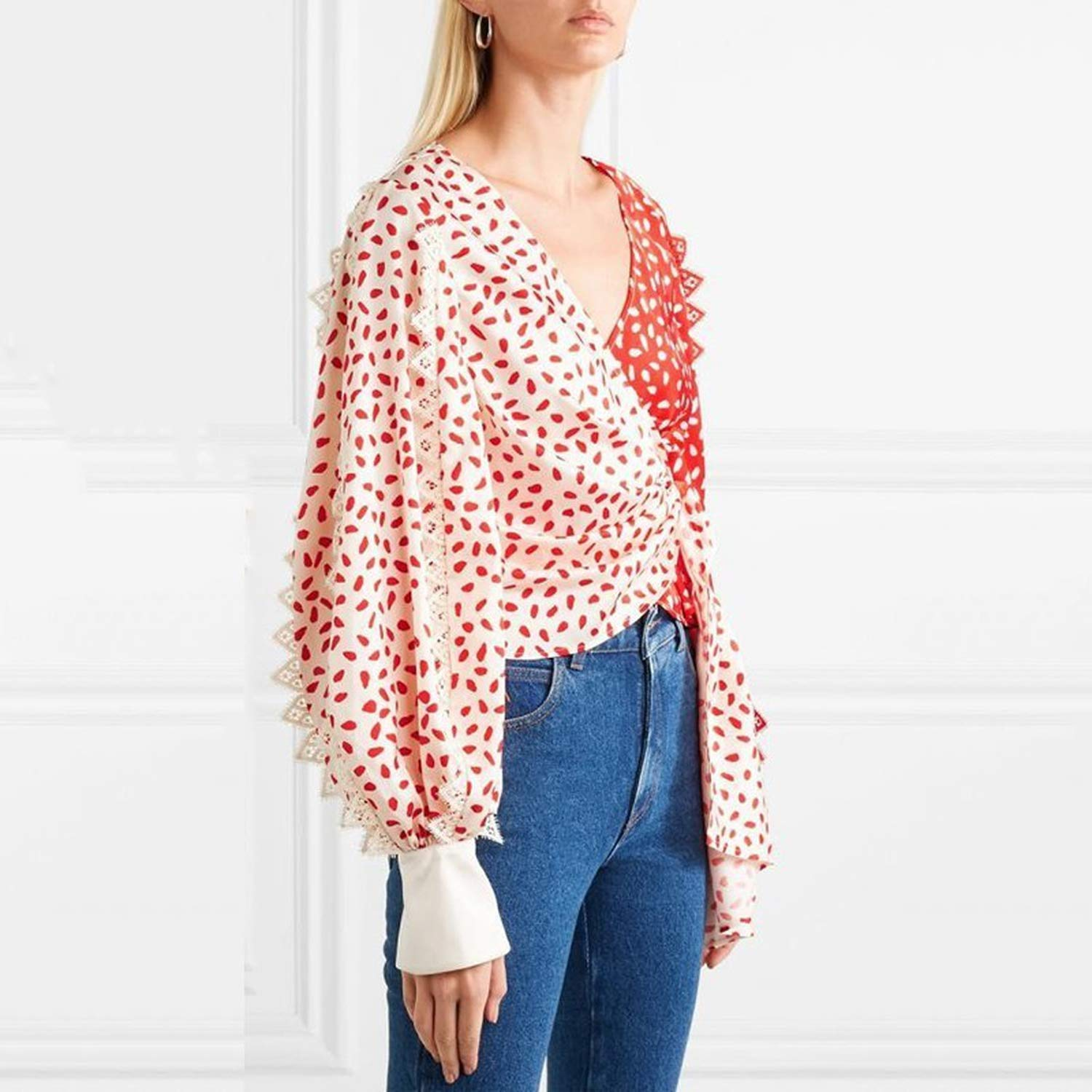 M Patchwork Lace Print Shirts Blouse Women V Neck Puff Sleeve Bandage Hit Colors Crop Tops Female 2019 Spring Fashion