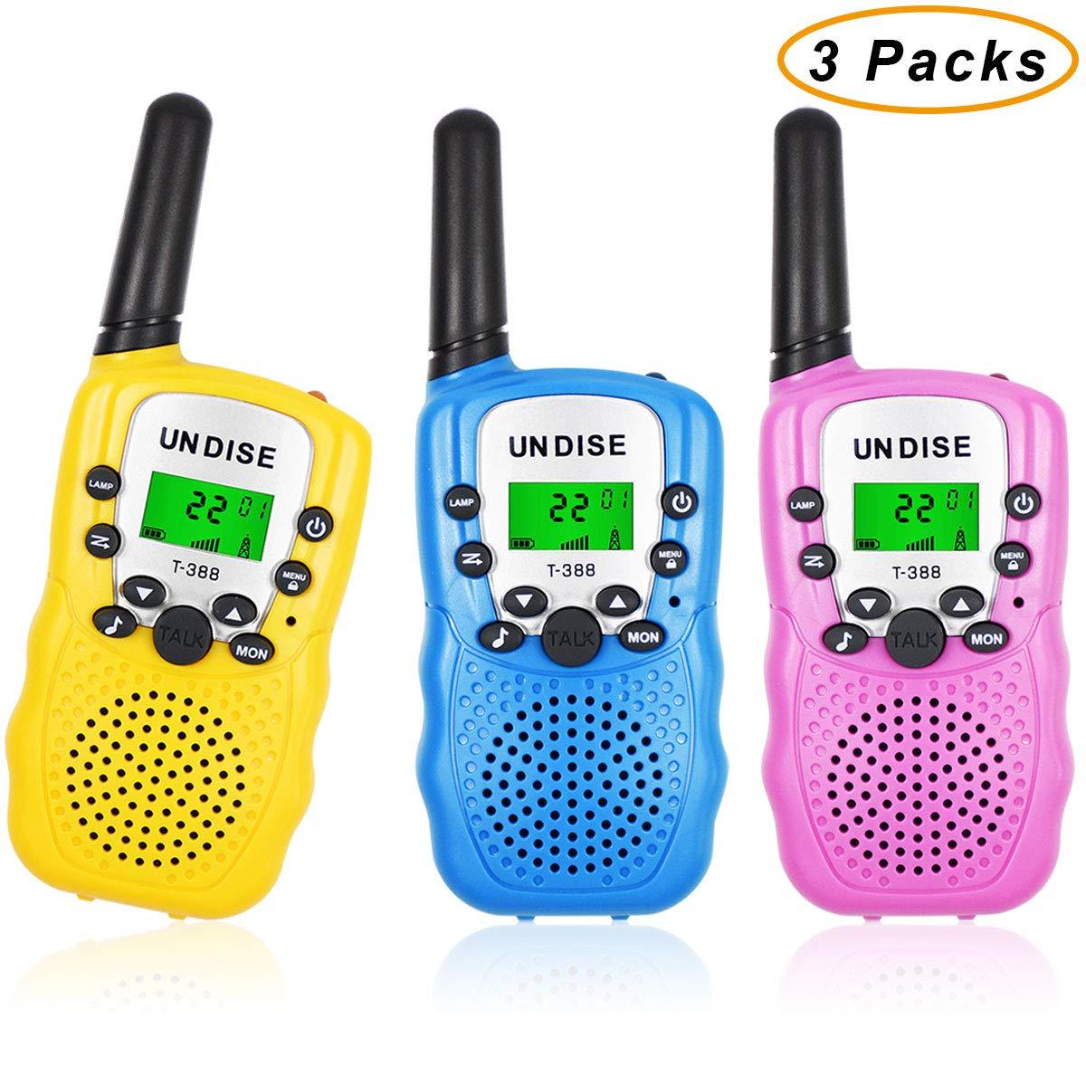 undise Walkie Talkies for Kids 3 Mile Range Mini 22 Channels 2 Way Radio Toy Kids Walkie Talkies with Flashlight for Outside Adventures, Camping, Hiking, 3 Packs