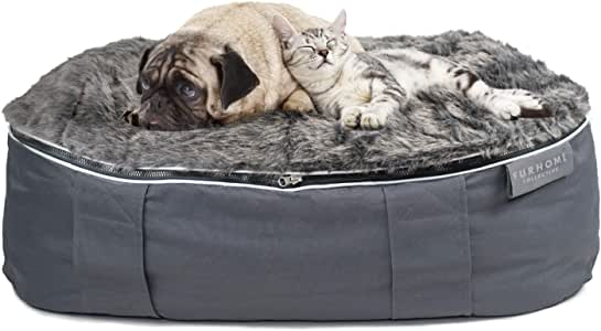 "FURHOME COLLECTIVE Orthopedic Dog Beds for Indoor Outdoor Pets with Removable Warming and Cooling Covers, Grey, 32.5"" x 18"""