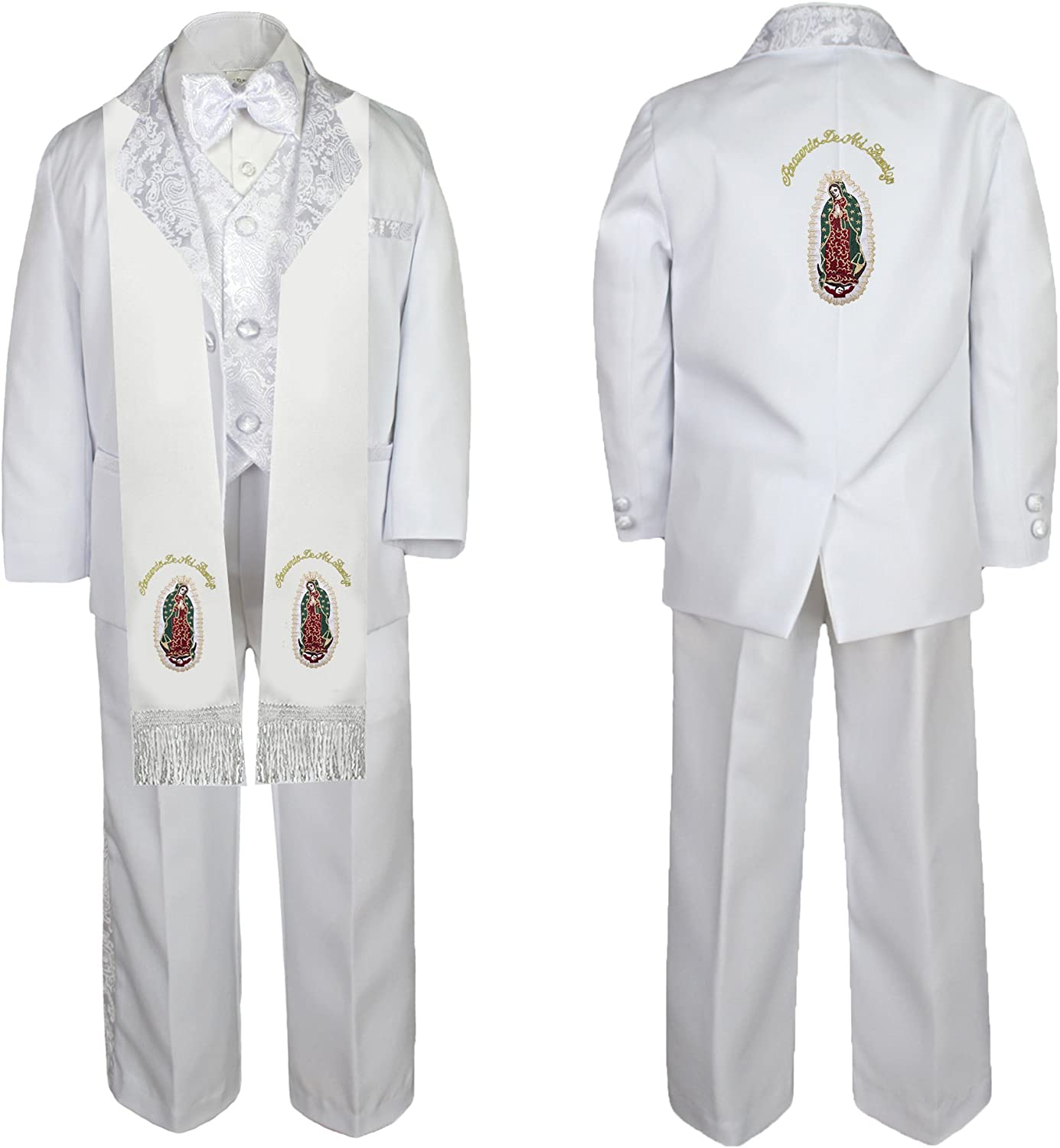 Unotux Baby Boy Communion Formal White Paisley Suit Gold Guadalupe Stole /& Back SM-20