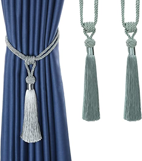BEL AVENIR Curtain Tiebacks Hand-Woven Rope Ties Home Decorative Tassels Holdbacks Pueple, 2