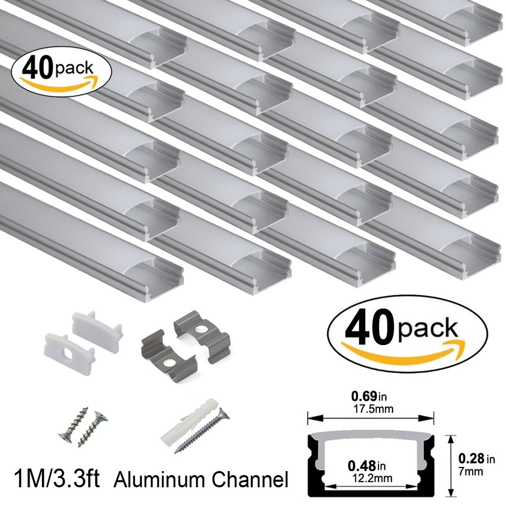 hunhun 40-Pack 3.3ft/1Meter U Shape LED Aluminum Channel System With milky Cover, End Caps and Mounting Clips, Aluminum Profile for LED Strip Light Installations, Very Easy Installation