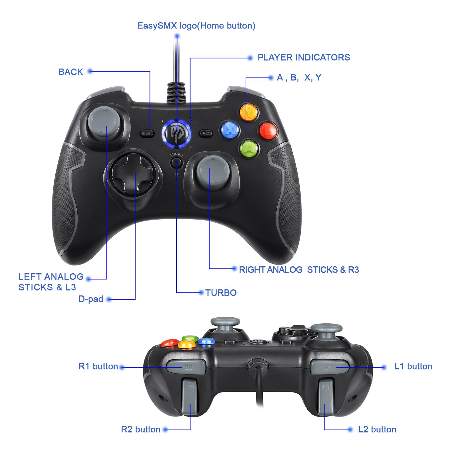 Wired Gaming Controller, EasySMX PC Game Controller Joystick with Dual-Vibration Turbo and Trigger Buttons for Windows/Android/ PS3/ TV Box (Gray) by EasySMX (Image #2)