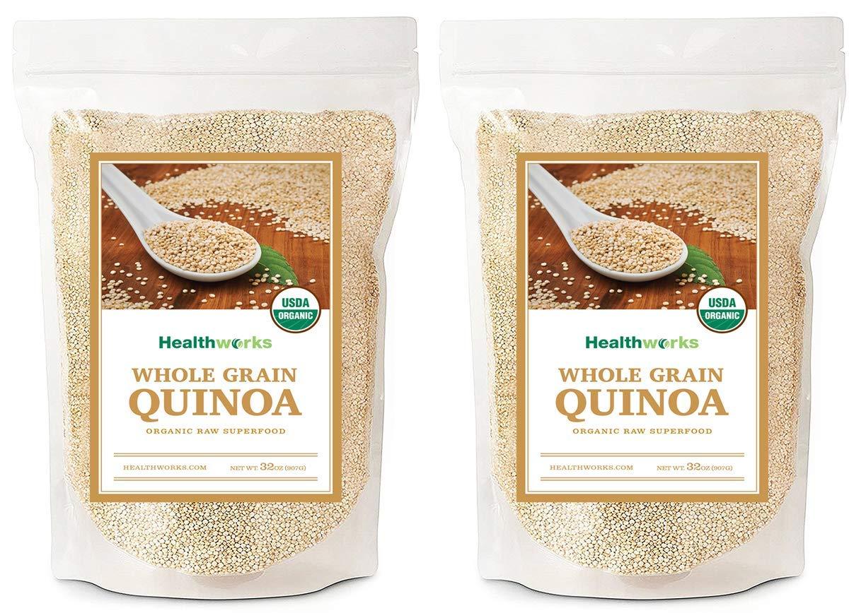 Healthworks Quinoa, Peruvian White Whole Grain Raw Organic, 4lb (2 2lb Packs)