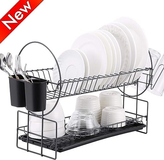 Amazon Com 2 Tier Dish Rack Kitchen Dish Drying Rack With
