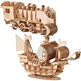 Model 2 Pieces (2 in 1) Sailboat and Train DIY Building Block Set 3D Educational Toys, The Perfect Set is Very Suitable for A