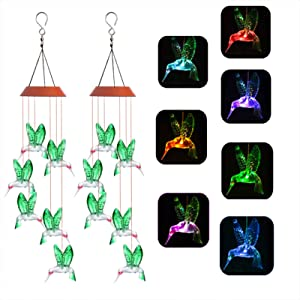 Starry Love Solar Hummingbird Wind Chime Light,2pack Colorful Color Changing Hummingbird Wind Chime Outdoor Waterproof Hang Lights, Suitable for Garden Courtyard Balcony Decoration